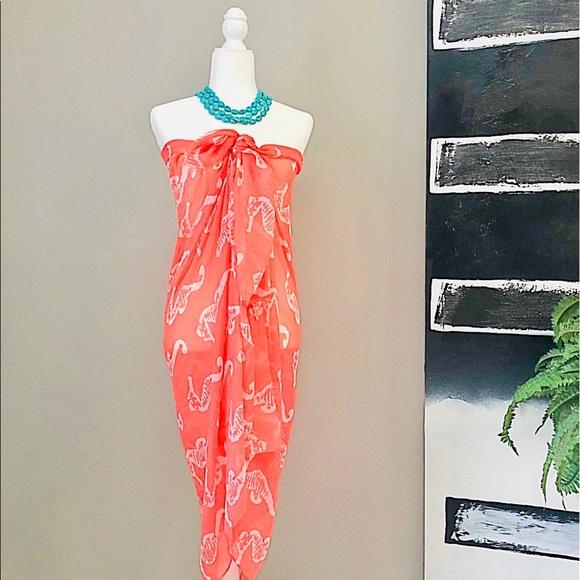 Dresses & Skirts - NWOT Coral Sea Horse Print Beach Sarong + Dress